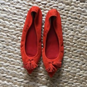 J. Crew Cherry Red Suede Flats - 10